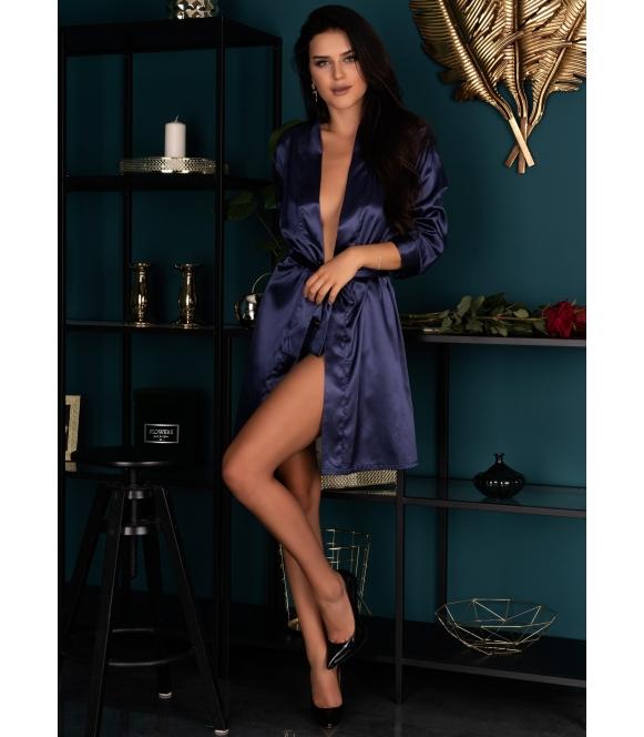edelina 09 seksi satynowy szlafrok damski krótki granatowy wiązany w pasie livco corsetti
