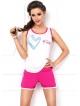 dkaren alisa różowo ecru komplet do spania damski piżama na ramiączkach i z krótkimi szortami alisa 31