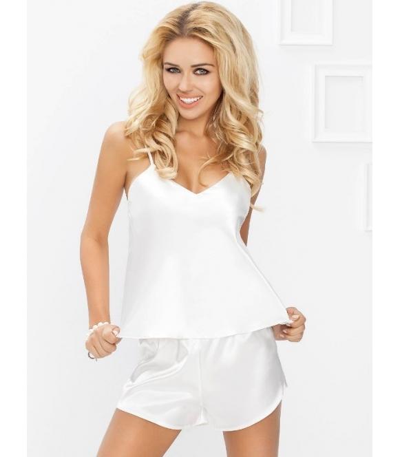 piżama satynowy komplet bielizny do snu dkaren karen jasny ecru koszulka na ramiączkach spodenki krótkie na gumce