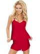 234 czerwony satynowy komplet do snu bielizna damska satynowa piżama dwuczęściowa z koszulką na ramiączkach dkaren karen