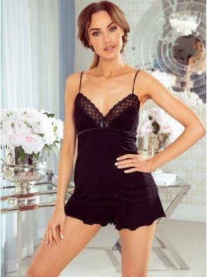 piżama damska z koronką i satynowymi lamówkami eldar nila czarna krótka góra na ramiączkach krótkie spodenki
