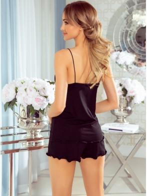 nila dwuczęściowa piżama damska krótka z koronką i satynowymi wstawkami eldar