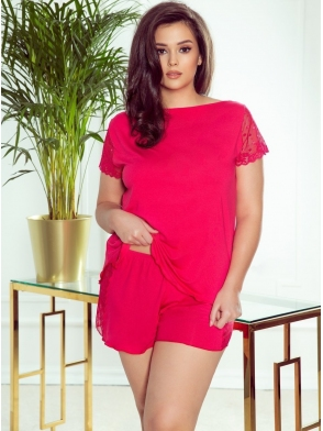 malinowa wiskozowa piżama damska eldar nicola dwuczęściowa z koronkowymi wstawkami