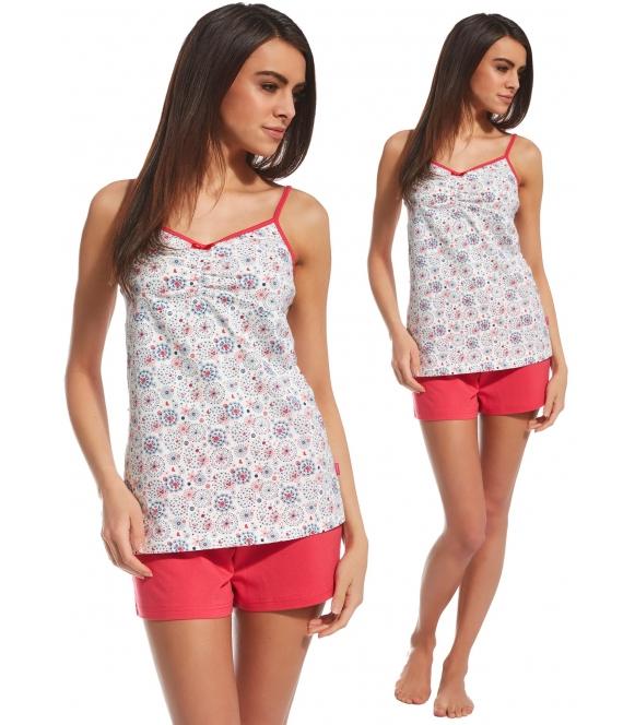 kolorowa krótka piżamka 100% bawełniana cornette summer time koszulka na ramiączkach i krótkie spodenki