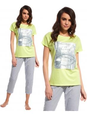 cornette milutka piżama damska venice bielizna nocna z krótkim rękawem i motywem na koszulce spodnie 7/8 w kratę
