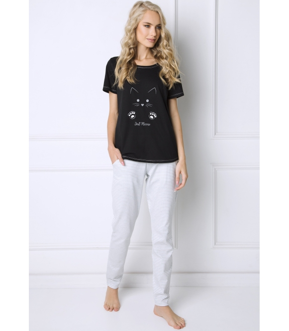 catwoman urocza piżama damska długa firmy aruelle bawełniana czarna góra spodnie długie w paski