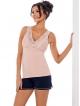 donna  klaudia piżama pudrowo różowa krótka damska z koronkowymi ramiączkami krótkie granatowe spodenki
