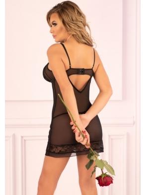 livco corsetti makrezian tiulowy prześwitujący komplet czarnej bielizny damskiej koszulka nocna i stringi