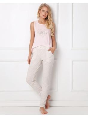 aruelle piżama w cętki pastelowa damska dwuczęściowa koszulka na ramiączkach różowa spodnie długie
