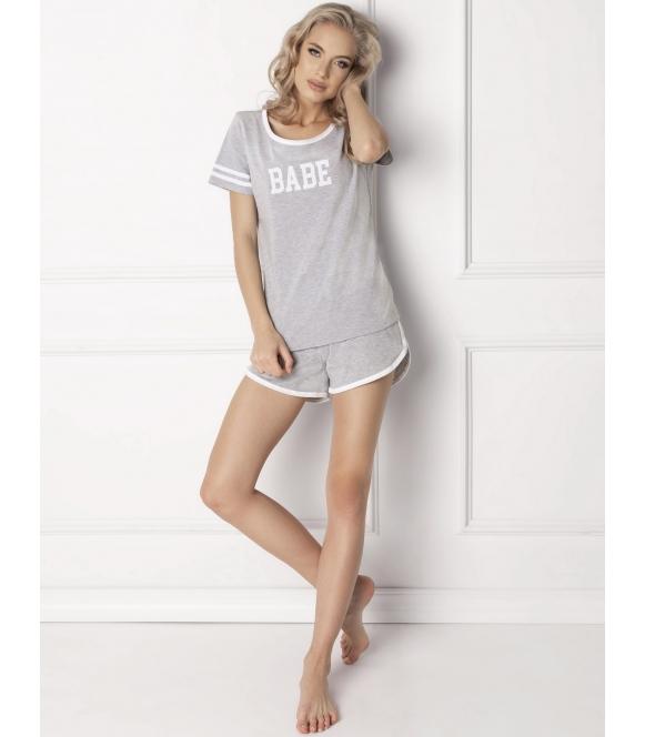 aruelle babe dwuczęściowa krótka piżama damska szara z krótkim rękawem i napisem po środku