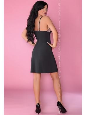 livco corsetti malaya sexy komplet bielizny damskiej czarna koszulka nocna na ramiączka i stringi damskie seksowne