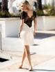 dkaren bielizna damska halka koszulka nocna damska w kolorze ecru z piękną czarną koronką na dekolcie i plecach model kayla