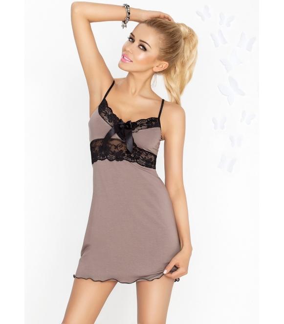 koszulka nocna damska cappucino dkaren model ines z czarnymi koronkowymi wstawkami cienkie ramiączka rozkloszowany dół