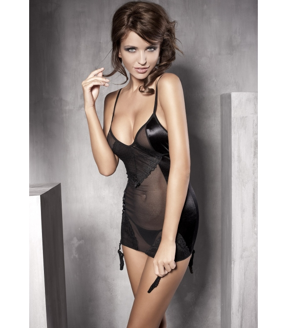 anais koszulka nocna z troczkami do pończoch damska czarna bardzo seksowna + stringi anais affection
