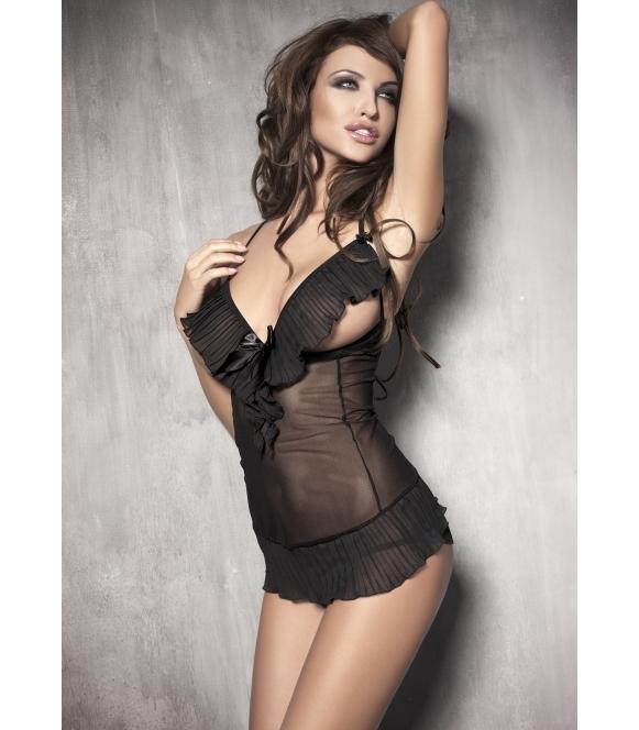 anais seksowny tiulowy karbowany komplet bielizny damskiej koszulka nocna i stringi anais caprice