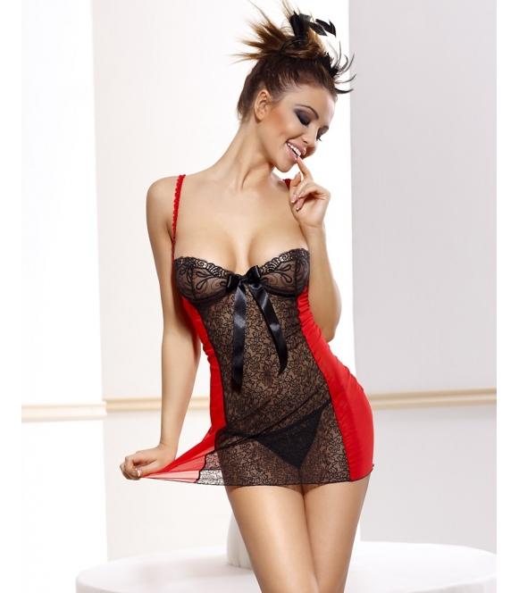 anais czerwono czarna koronkowa koszulka nocna damska z wycięciem na pupie w kształcie serca firma anais