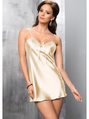 irall aria 97 kremowa koszulka nocna z włoskiej satyny bardzo seksi krótka z regulowanymi cienkimi ramiączkami