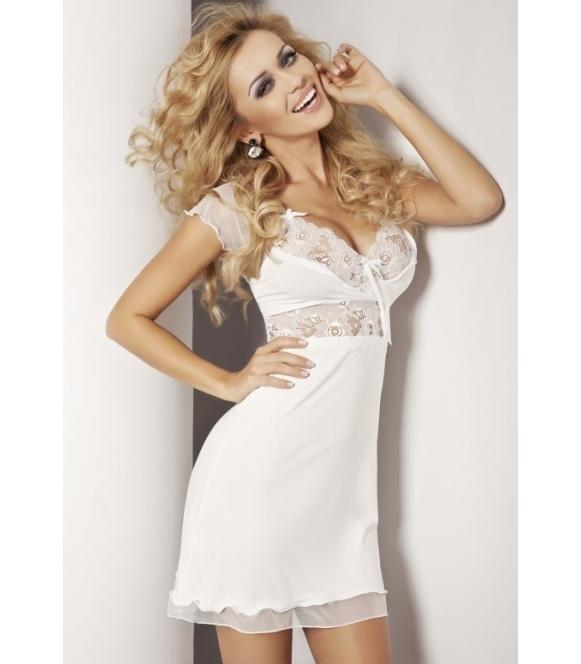 Seksowna wiskozowa paulina koszulka nocna damska z koronką dkaren  w kolorze ecru bardzo seksowna bielizna nocna