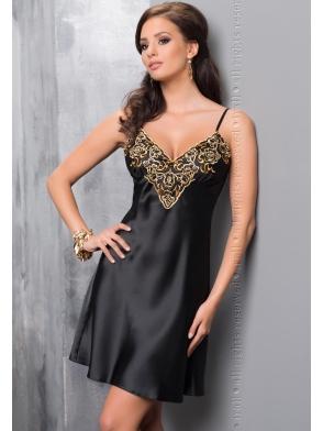 irall koszulka nocna ze złotym haftem damska czarna na cienkich ramiączkach model luna
