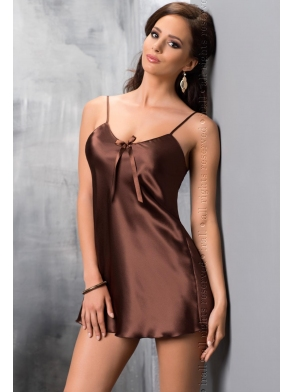 seksi  czekoladowa koszulka nocna irall aria satynowa krótka na ramiączkach