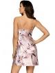 donna katie satynowa kwiecista koszulka nocna damska krótka z regulowanymi ramiączkami perłowo różowa