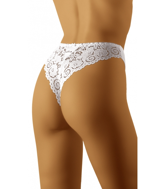seksowne koronkowe stringi wol-bar bolero białe z gładkim przodem