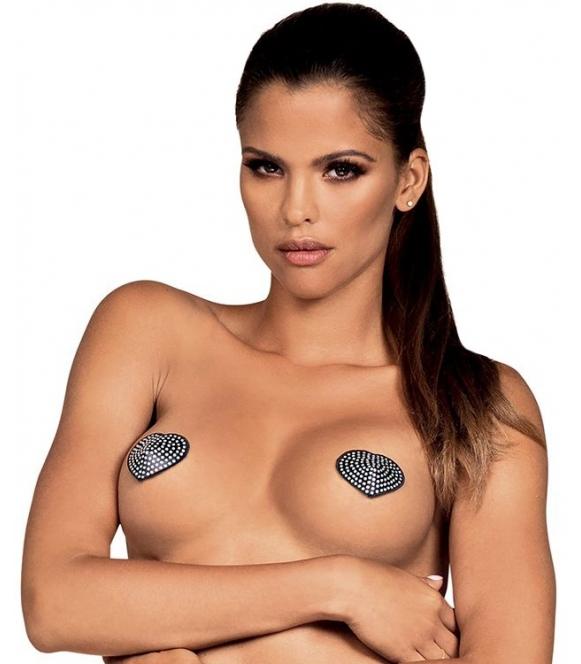obsessive a750 satynowe nasutniki kształt serca z błyszczącymi kamyczkami samoprzylepne wielokrotnego użytku