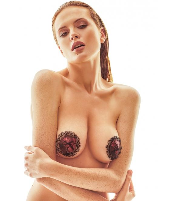 bordowo czarne nasutniki anais berrie samoprzylepne nakładki naklejki seksowne na piersi