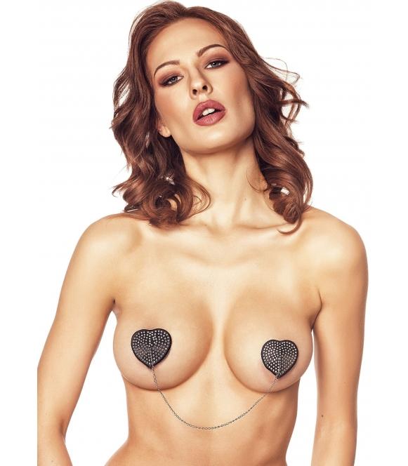 Anais Orsi nasutniki serca z cekinami i łańcuszkiem czarne nakładki na sutki seksowne samoprzylepne