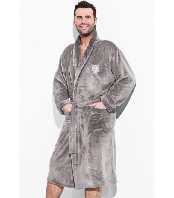 l&l borys pełen luksusu szlafrok męski długi z wyszywaną aplikacją na piersi długi kolory do wyboru