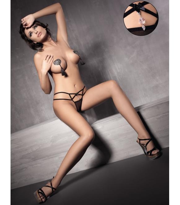 anais pure stringi z seksownych paseczków czarne z cyrkoniowym serduszkiem