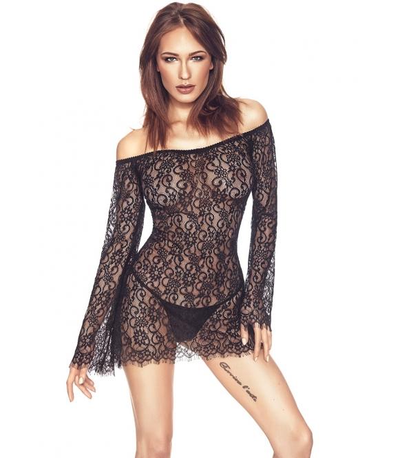 anais poppie ażurowa koronkowa koszulka nocna damska czarna lekko prześwitująca z odsłoniętymi ramionami
