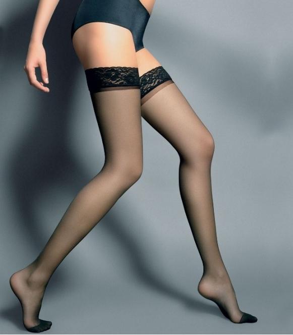 silvi pończochy pachnące elegancją czarne samonośne z szeroką koronką veneziana