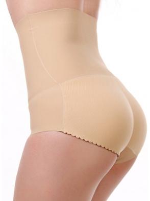 wysokie majtki wyszczuplające push up powiększające i modelujące pośladki oraz brzuch i talię beżowe