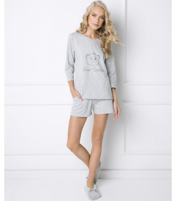 piżama w gwiazdki bawełniana damska aruelle sweet bear dwuczęściowa z krótkimi szortami
