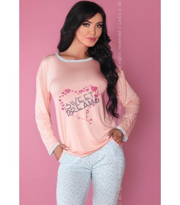 różowo błękitna piżama w gwiazdki długa dwuczęściowa livco corsetti sweet dreaming