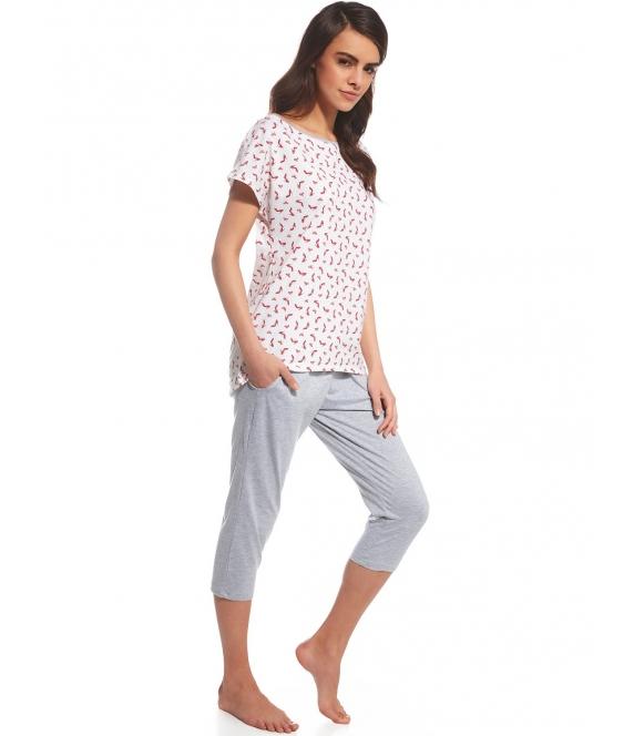 piżama z motywem szpilek na koszulce bawełniana damska długi rękaw i spodnie 7/8 cornette cindy 055/106