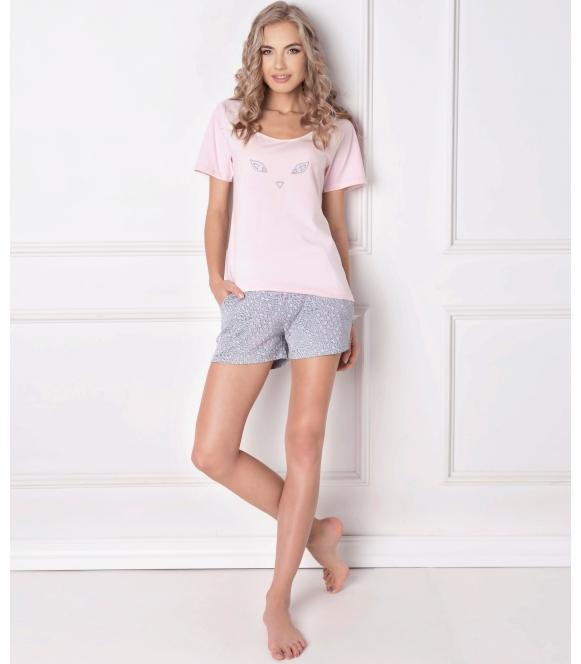 piżamadamska bawełna pastrlowo różowa krótka aruelle wild look short