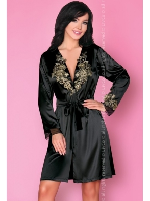 szlafrok peniuar satynowy z koronką damski czarny haftowany livco corsetti natasha