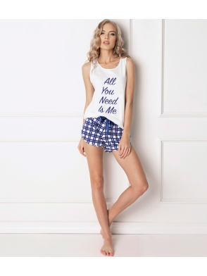 100% bawełniana piżama spodenki krata granatowa krótkie i koszulka na szerokich ramiączkach aruelle need me short