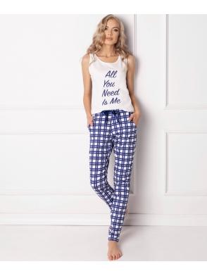 bawełniana piżama aruelle w kratę dwuczęściowa na szerokich ramiączkach długie spodnie model need me long