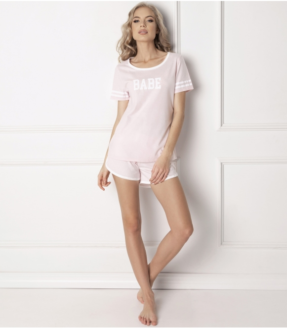 pastelowa piżama damska babe short pink od aruelle różowa krótka z nadrukiem