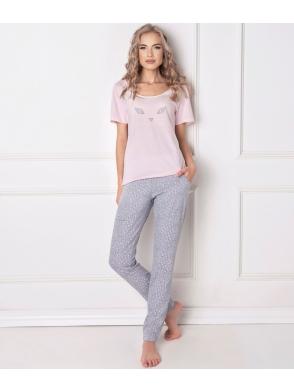 aruelle różowo szara piżama bawełniana damska z krótkim rękawem i wzorzystymi długimi spodniami wild look