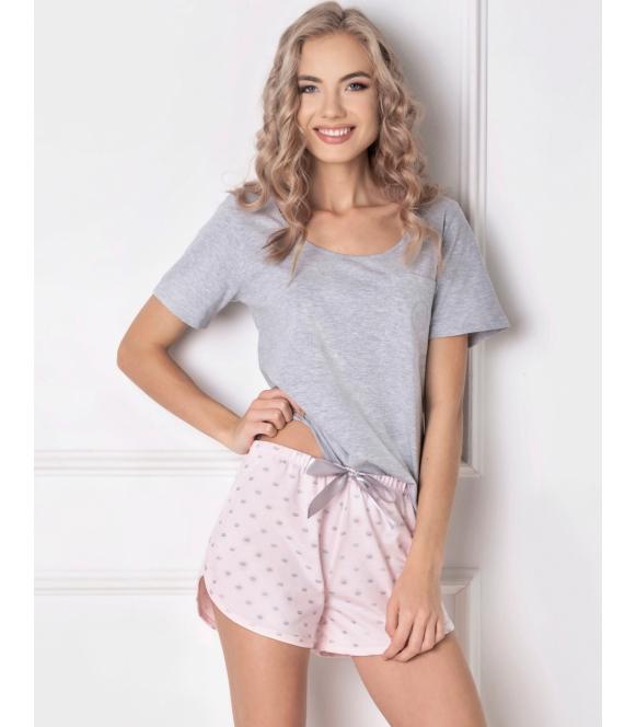 aruelle krótka piżama szaro różowa krótka q short szara koszulka z krótkim rękawem i różowe szorty