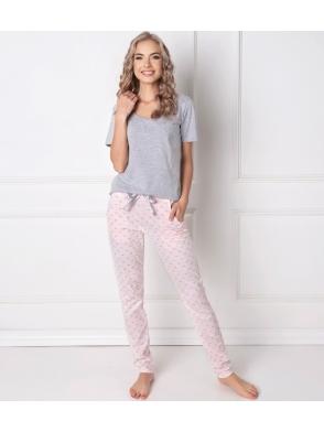 sexi piżama szaro różowa aruelle q long damska bawełniana z krótkim rękawem i długimi spodniami