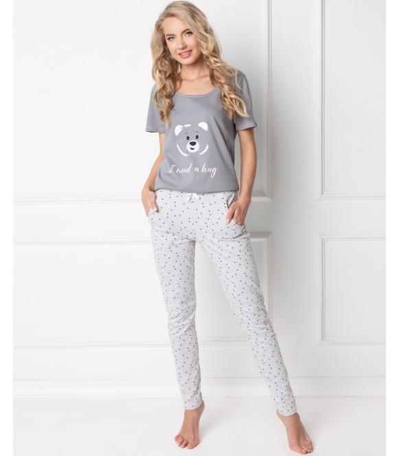 piżama z niedźwiedzimi motywami Aruelle huggy bear damska 100% bawełniana koszulka krótki rękaw spodnie długie
