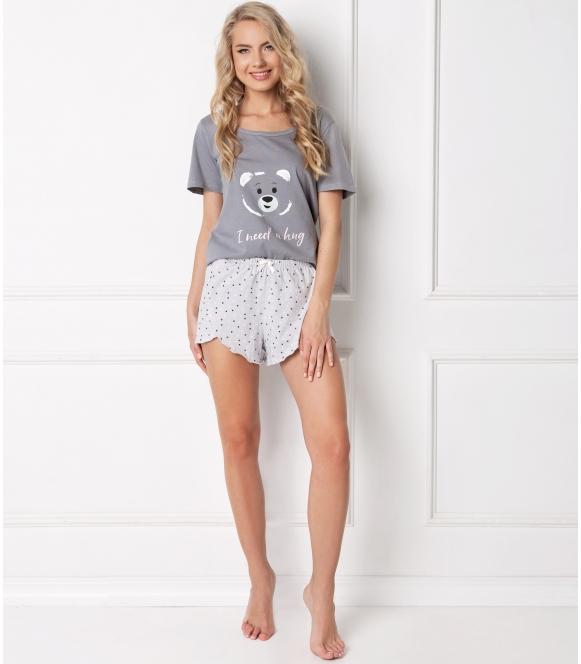 piżama w misie damska aruelle huggy bear short grey dwuczęściowa z krótkim rękawem i szortami