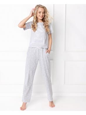 aruelle piżama w serca hearty long grey damska dwuczęściowa krótki rękaw i długie luźne spodnie