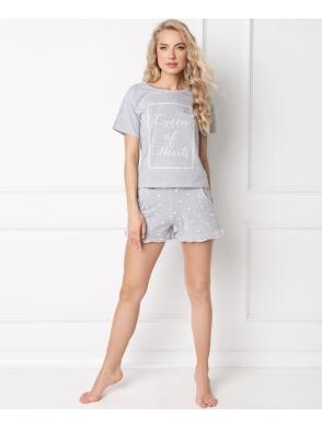 aruelle piżama krótka z szortami w serduszka i koszulką z krótkim rękawem model hearty short grey