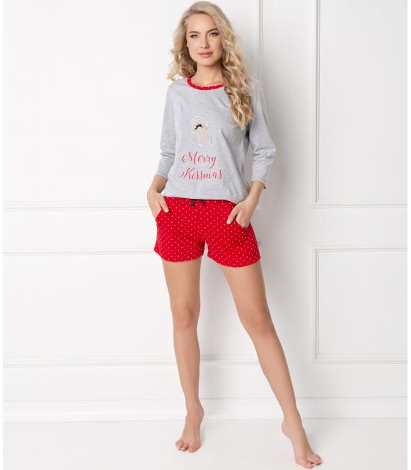 świąteczna piżama damska krótka bawełniana aruelle cookie short gret dwuczęściowa